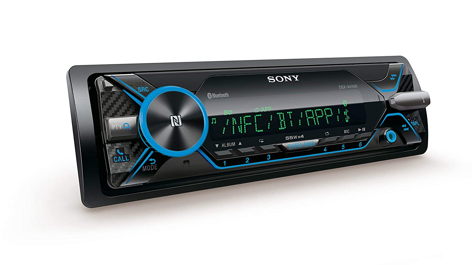 Sony DSX-A416BT Car radio With Dual Bluetooth, NFC, USB and AUX connection and Apple iPod/ iPhone Control, 35000 Colours and Handsfree - Multi-Colour DSXA416BT.EUR