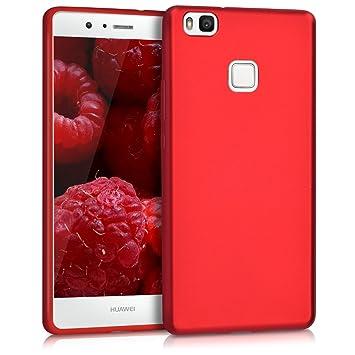 kwmobile Funda para Huawei P9 Lite - Carcasa para móvil en [TPU Silicona] - Protector [Trasero] en [Rojo Oscuro Metalizado]