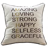 """Sanmetex Mothers Day/Mothers Brithday Gifts for Mom Throw Pillow Cases Natural Cotton Linen Pillow Cover Mother In Law Gifts For 18"""" X 18"""" Inch Throw Pillows (Best Mom/Friend Gifts Color Brown)"""