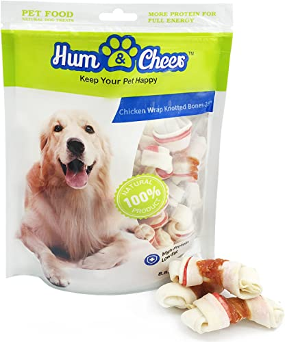 Hum Cheer Daily Dental Bones Dog Treats Chicken wrapped Rawhide Chews