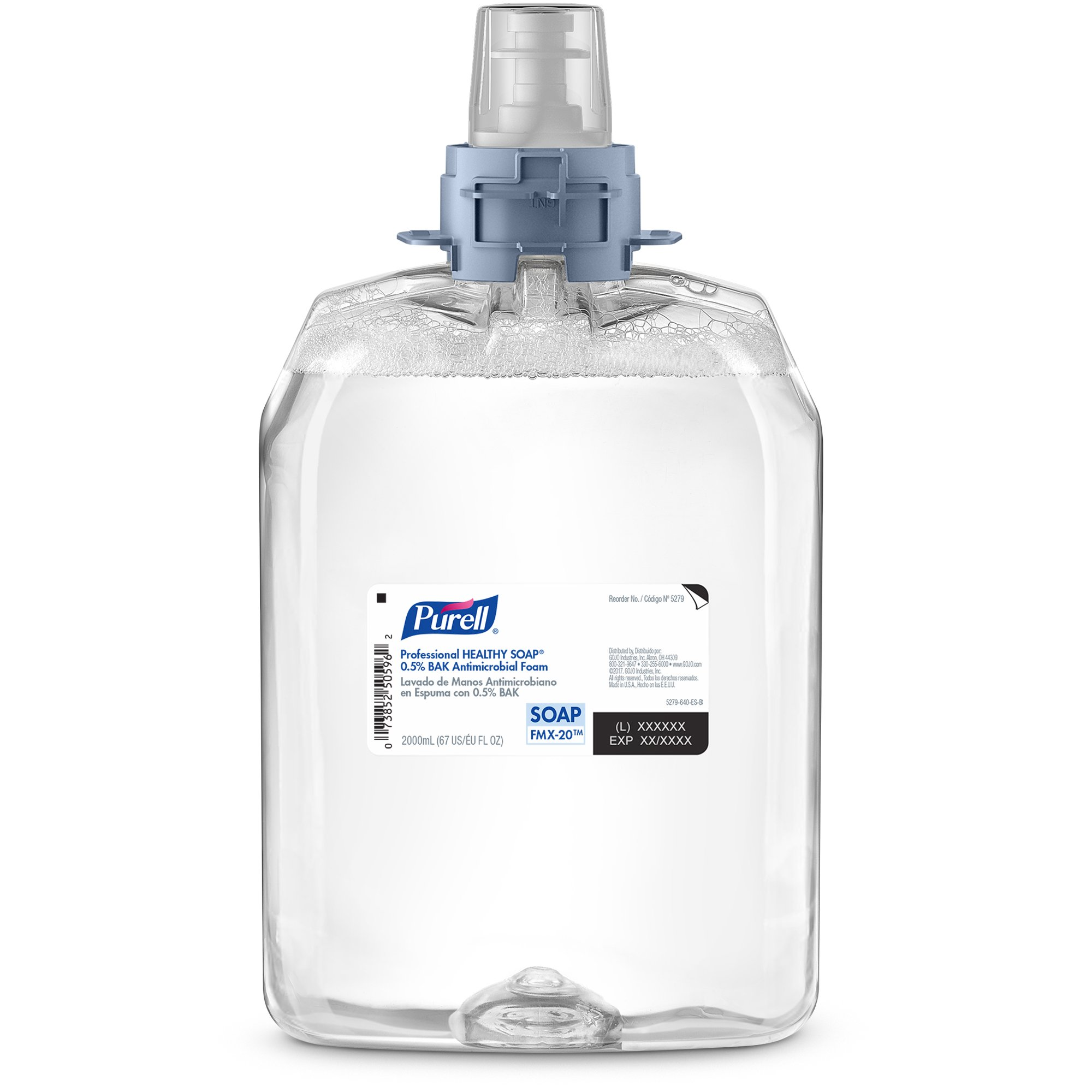 PURELL FMX-20 Professional HEALTHY SOAP 0.5% Bak Antimicrobial Foam, 2000 mL Soap Refill for PURELL FMX-20 Push-Style Dispenser (Pack of 2) - 5279-02