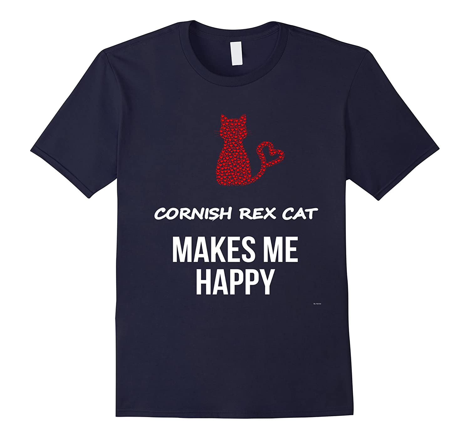 My Cornish Rex Cat Makes Me Happy Tee Shirt-AZP