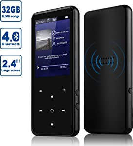 MP3 Player, Alptory 32GB MP3 Player with Bluetooth 4.0,Portable Sports Music Player 2.4'' Screen Built-in Speaker with Voice Recorder,FM Radio,Text Reading, HiFi Lossless Sound (32GB)