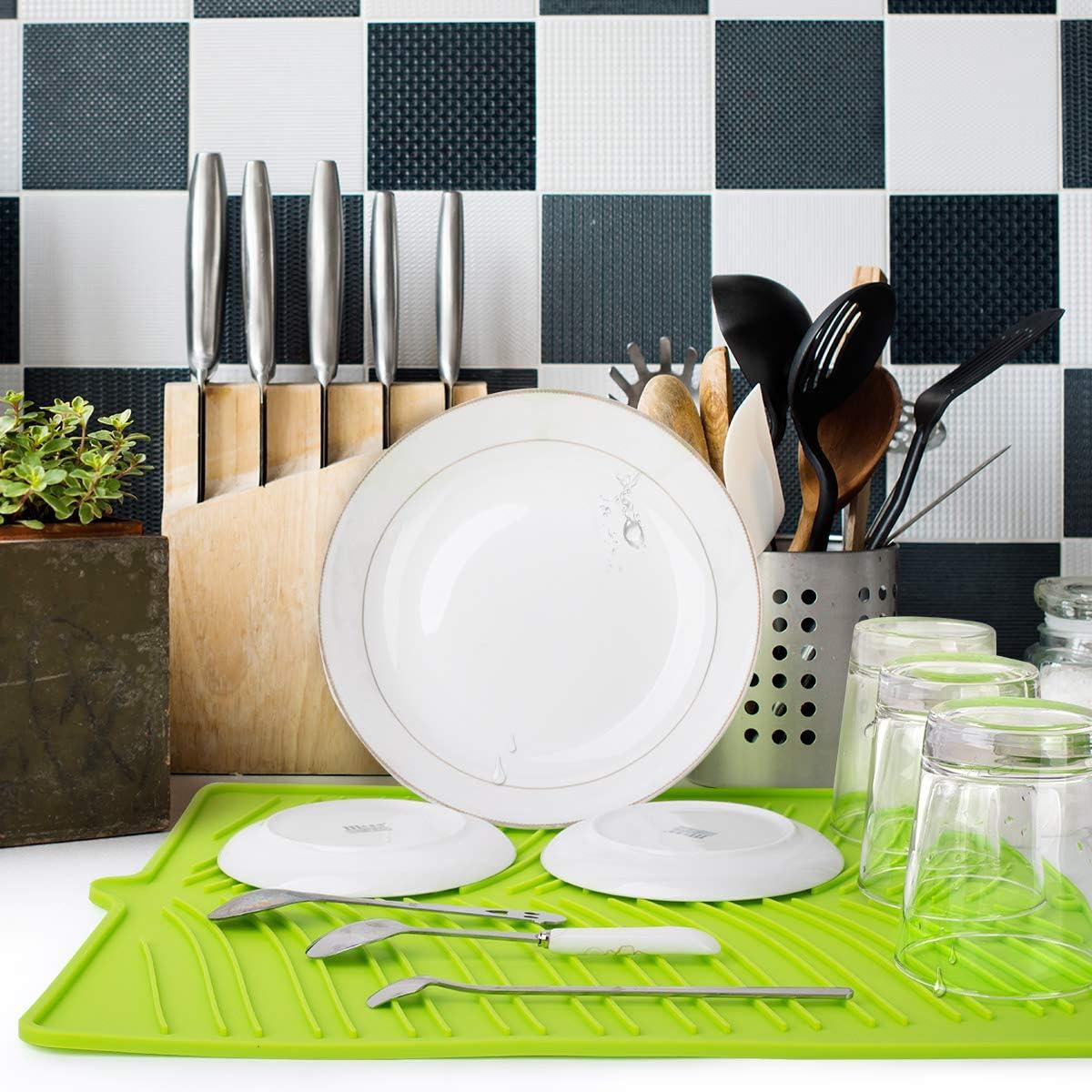 Rose Facile /à Nettoyer pour Cuisine Nuovoware Tapis de S/échage en Silicone Tapis de Cuisine pour Vaisselle R/ésistant /à la Chaleur et Respectueux de lenvironnement
