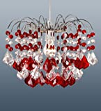 Home Range Claret - Lámpara colgante de techo (con 48 cristales acrílicos), color rojo