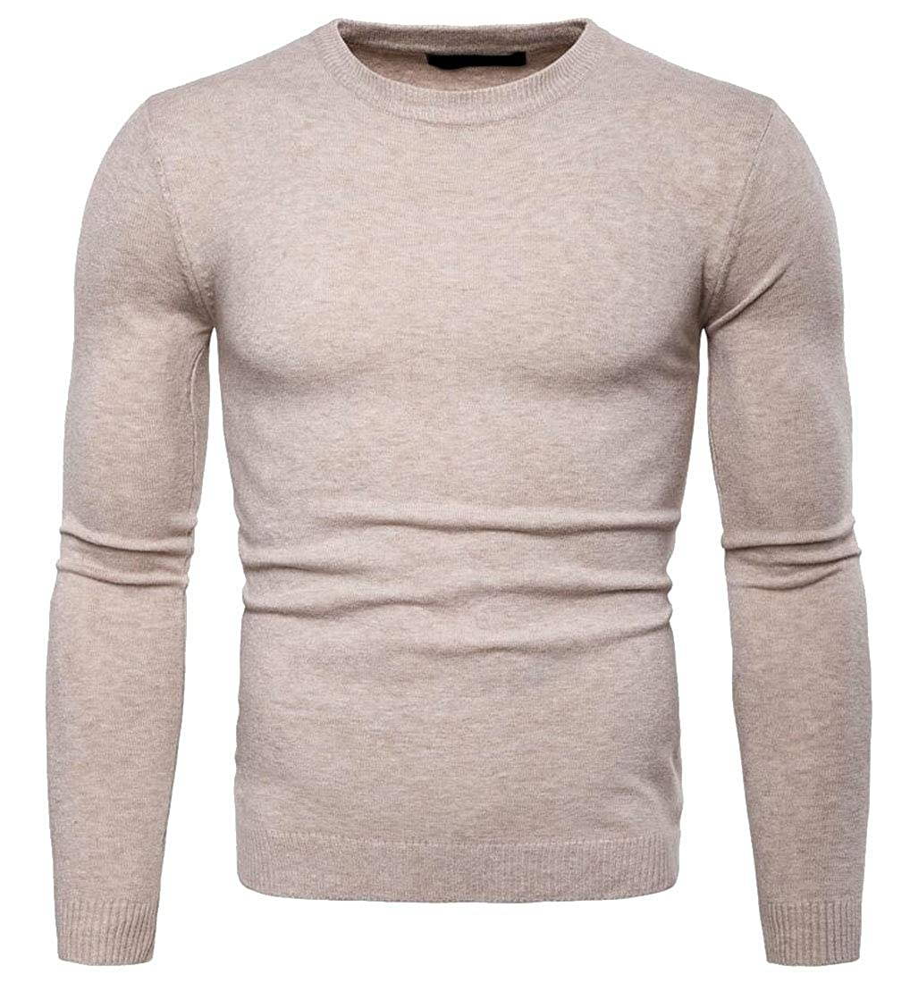 Z.Tianci Mens Solid Knitted Slim Leisure Round Neck Pullover Sweaters