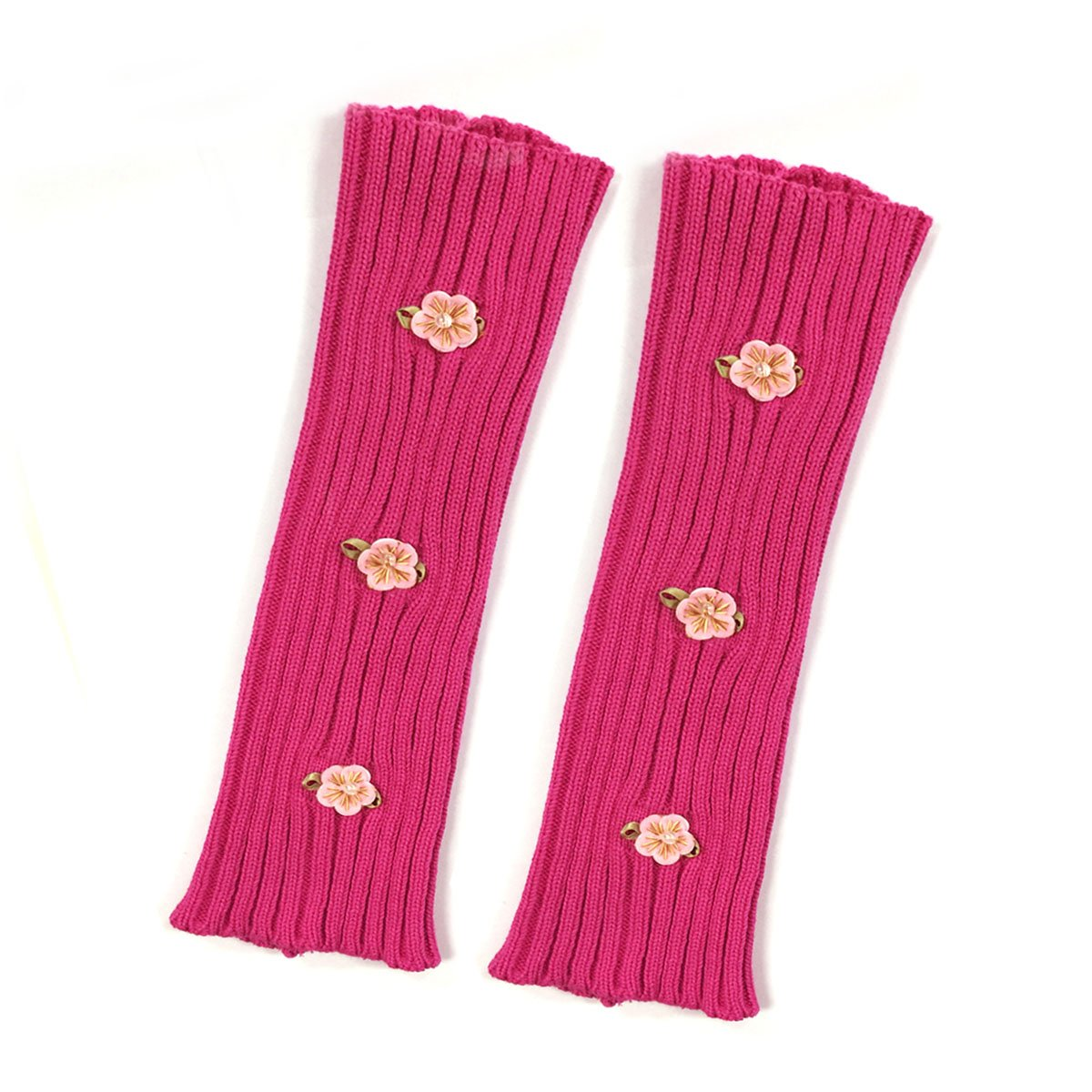 Bowbear Little Girls Ribbed Leg Warmers with Floral Stitching, Hot Pink