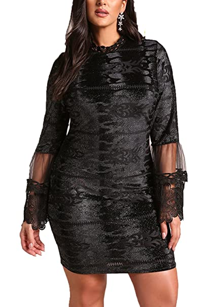 eb5c12f21cda Debshops Womens Plus Size Sparkle Embroidered Tulle Bell Sleeve Dress 1XL  Black