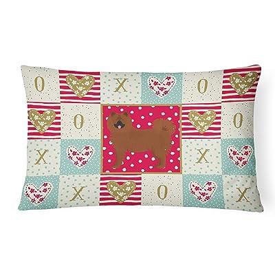 Caroline's Treasures CK5834PW1216 Eurasier Love Canvas Fabric Decorative Pillow, 12H x16W, Multicolor : Garden & Outdoor