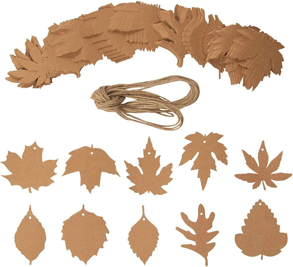 180 Pcs Thanksgiving Gift Tags Maple Leaves Favor Craft Paper Tags Favor with 180PCS Organza Ribbons for Autumn Christmas Wedding Craft Presents