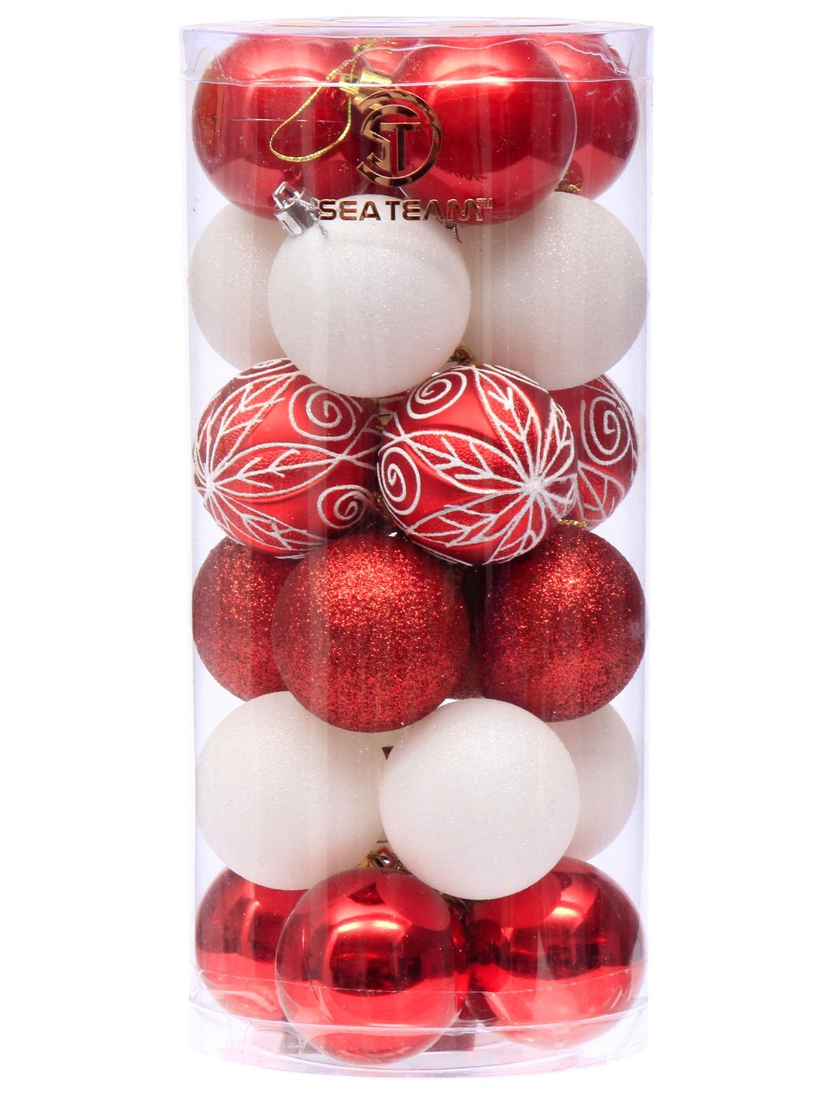 Sea Team 60mm/2.36'' Decorative Shatterproof Painting & Glittering Designs Christmas Ball Ornaments Set in Harmonious Contrast Color, 24-Pack, Red