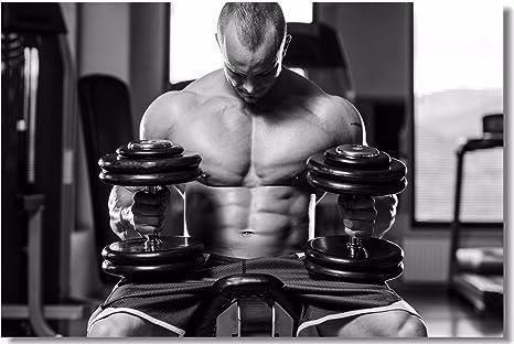 Poster Bodybuilding Men Girl Fitness Workout Quotes Motivational Font Print 013