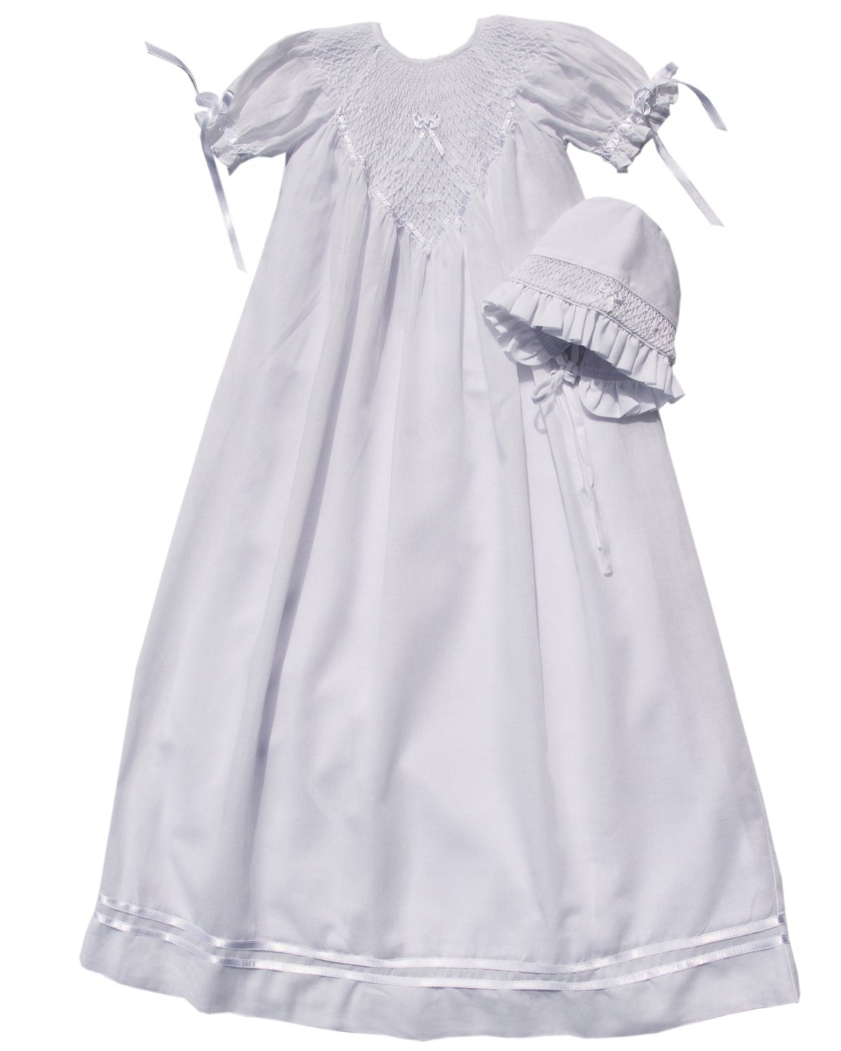 Infant Baby Girl Christening Baptism Gown with Hand Smocking Ribbons and Bonnet
