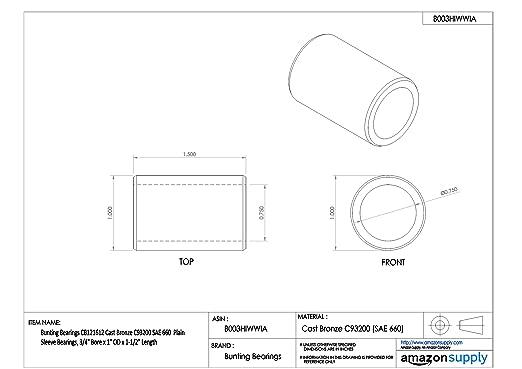 Plain SAE 660 Cast Bronze C93200 Bearings Bunting Bearings CB243228 Sleeve 1-1//2 Bore x 2 OD x 3-1//2 Length 1-1//2 Bore x 2 OD x 3-1//2 Length CB243228A1