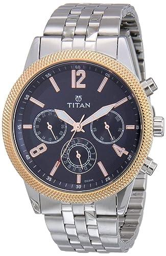 Titan Chronograph Men's Watch  Silver Colored Strap  Men's Wrist Watches