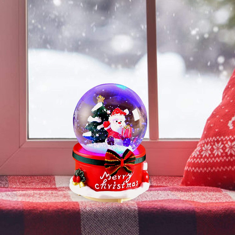 Handmade Water Ball Crafts CHENSTAR Christmas Snow Globe Music Box Musical Jingle Bells Santa And Snowman Decoration And Gift