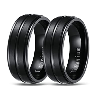 Bishilin Titanium Ring for Gay Matte Finished Wide 8MM Couple