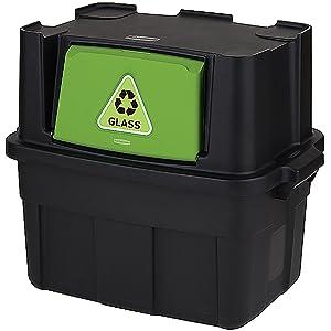 Rubbermaid Stackable Recycling Bin, 14-Gallon, Black