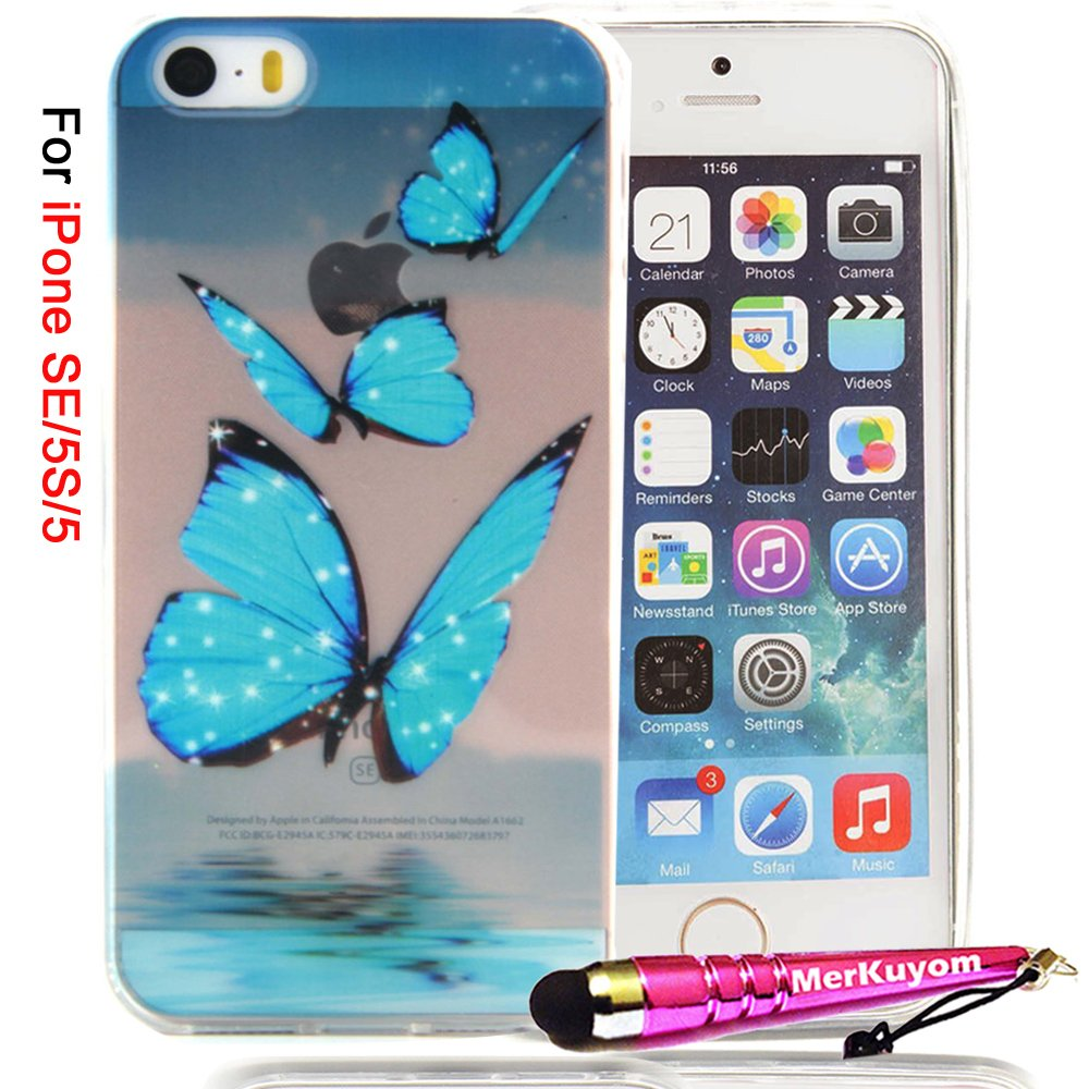 iPhone SE Case / iPhone 5 5S Case, 5/5S/SE Cover, MerKuyom Package-Thin Flexible Gel Soft TPU Cover Silicone Skin Case + Stylus For Apple iPhone 5 5S, iPhone SE (Blue Butterfly)