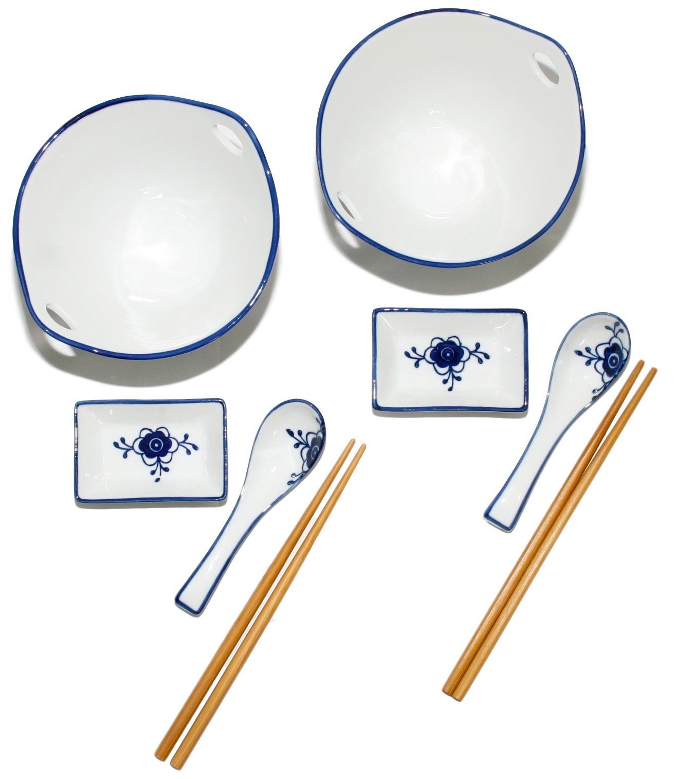 Umami Tableware Blue And White Porcelain Ramen Bowl Set, Soup Bowl With Chopsticks, Sauce Dish, Hooked Spoon Set Of 2, By Umami Tableware
