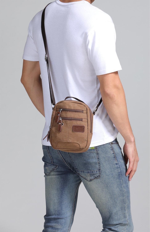 Marron Sacoche Homme Petite Sac Bandouli/ère Pochette T/él/éphone Portable en Toile Sac de Voyage Sport L/éger Nombreuses Poches Hengwin