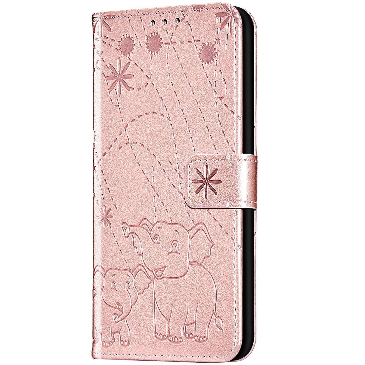 Case for Galaxy J3 2017 Flip Case Premium Soft PU Leather Embossed with Folding Stand, Card Slots, Wristlet and Magnetic Closure Protective Cover for Galaxy J3 2017,Rose gold by ikasus