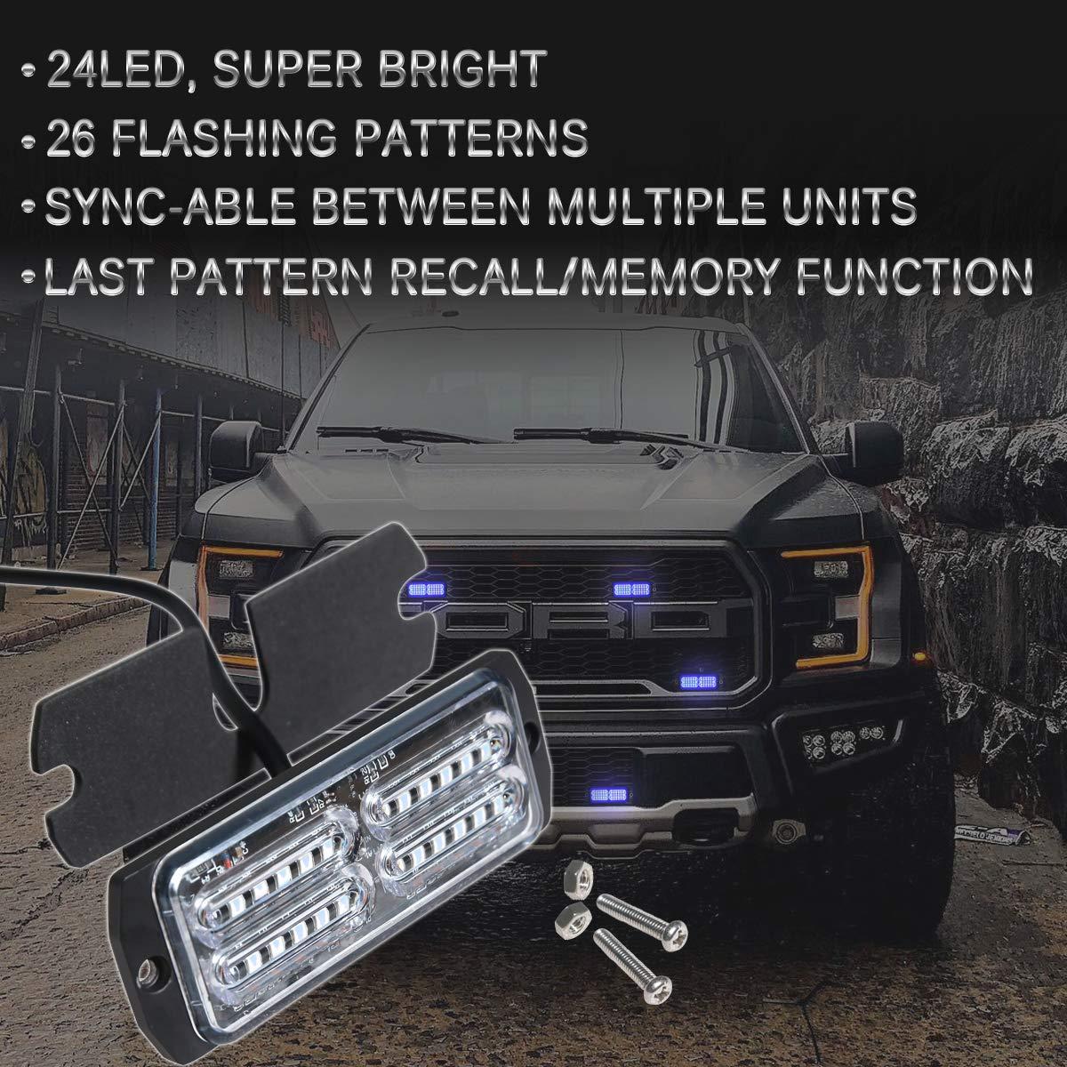 Amber//White ASPL 4pcs Sync Feature 24-LED Surface Mount Flashing Strobe Lights for Truck Car Vehicle LED Mini Grille Light Head Emergency Beacon Hazard Warning lights