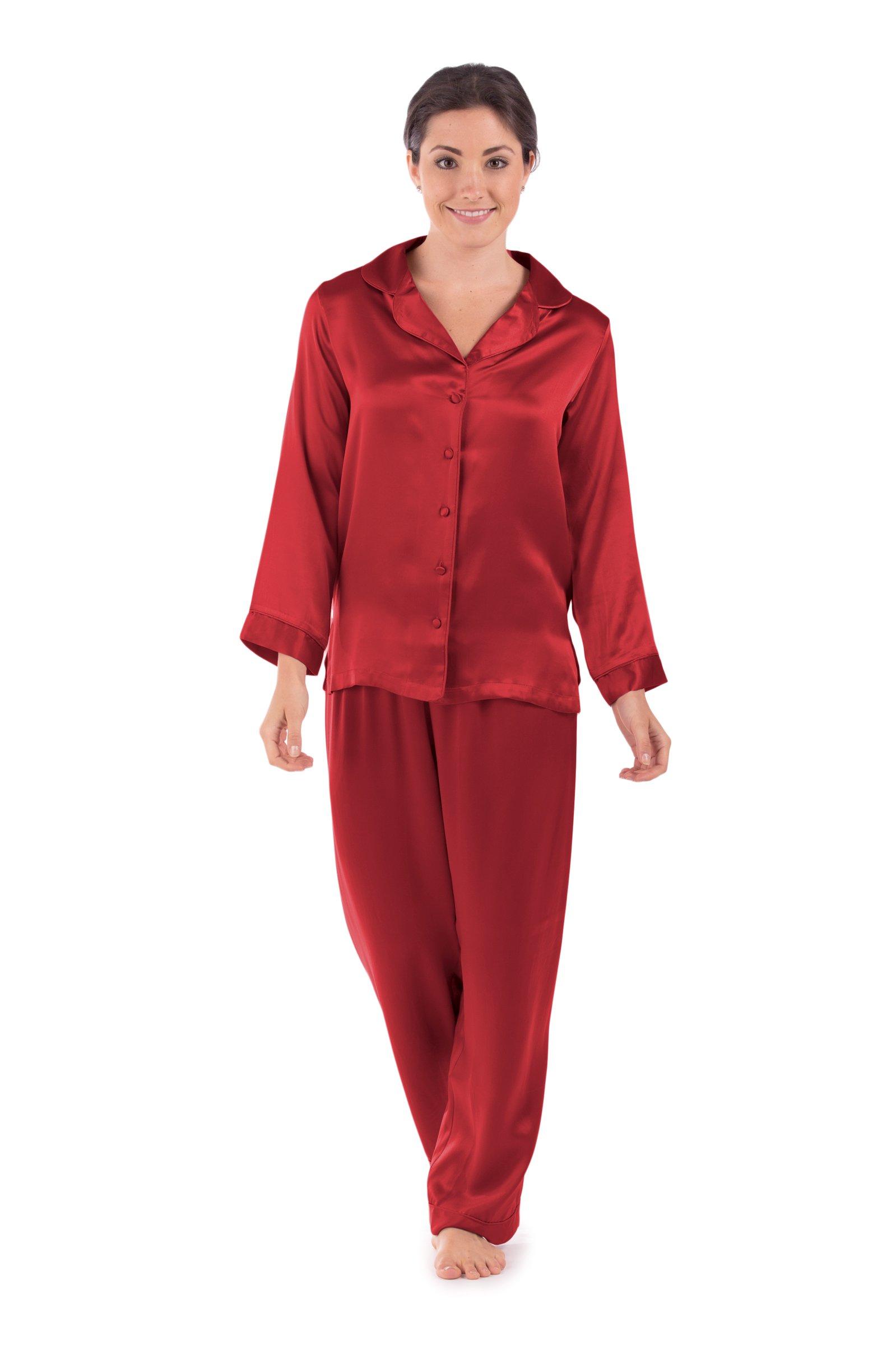 TexereSilk Women's 100% Silk Pajama Set - Luxury Sleepwear PJS by (Morning Dew, Tango Red, X-Large) Best Women's Holiday Gift WS0001-TRD-XL