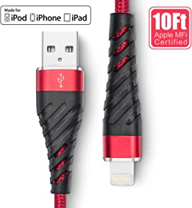 Long iPhone Charger 10ft, Apple MFi Certified Lightning Charger Cable 10 Foot,Durable Braided Nylon Metal Connector Charger Cord Compatible with iPhone X/XS Max/XR/8 Plus/7/6/5/SE, iPad, Red
