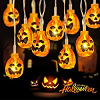 Elegear Cadena de Halloween de Calabaza Transparente 3,5M 20 LEDs,8 Modos Luces de Halloween Decoración con Pilas…