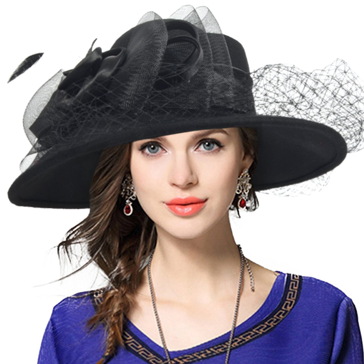 Hippie Hats,  70s Hats VECRY Womens Fascinator Wool Felt Hat Cocktail Party Wedding Fedora Hats $32.87 AT vintagedancer.com