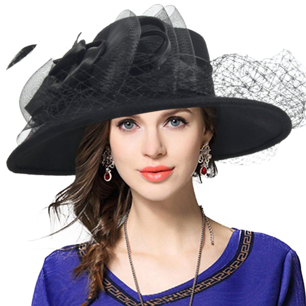 VECRY Women's Fascinator Wool Felt Hat Cocktail Party Wedding Fedora Hats (B-Black)