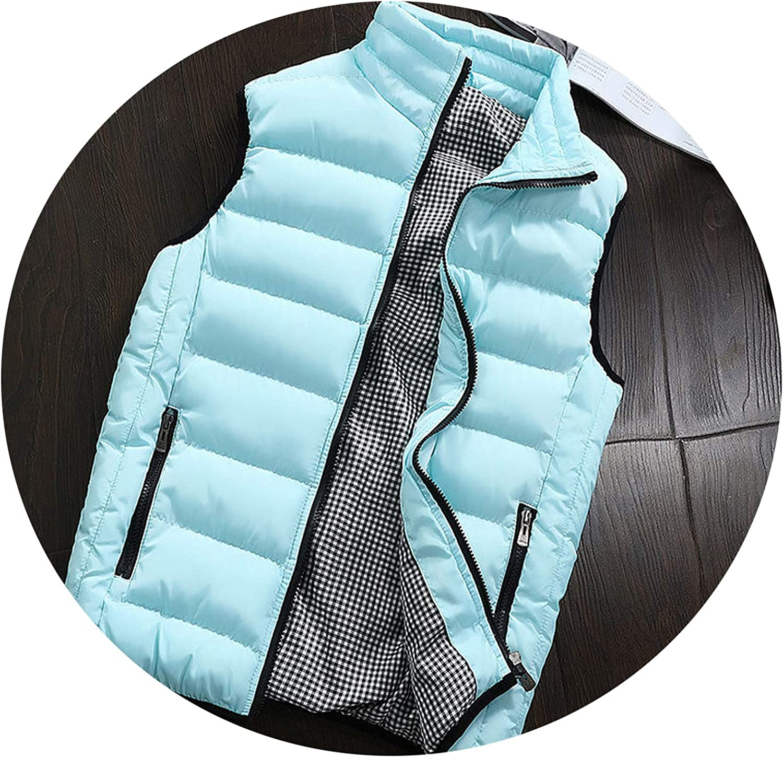 Vest Men Army Waistcoat Mens Vest Fashion Casual Coats,Sky Blue,L