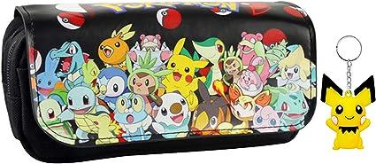 Pokemon Pikachu Estuche de lápices Anime Gran capacidad Doble cremallera Lápiz Bolsa Cartera Bolsa de papelería (Colour 1): Amazon.es: Oficina y papelería