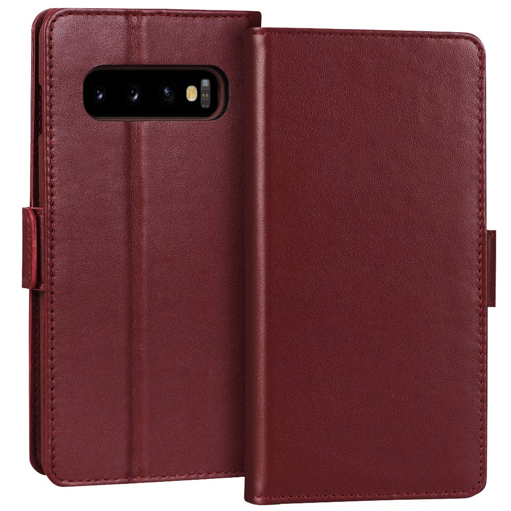 FYY Samsung Galaxy S10+ Plus 6.4'' Luxury[Cowhide Genuine Leather][RFID Blocking] Handcrafted Wallet Case, Handmade Flip Folio Case with[Kickstand Function]and[Card Slots] for Galaxy S10+ Plus Wine Red