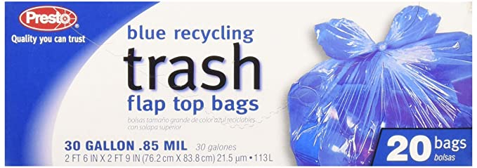 Presto Products GKL042927-1 30 Gal.lon Recycl Ing Trash Bags with Flap Top 20 Count, Blue