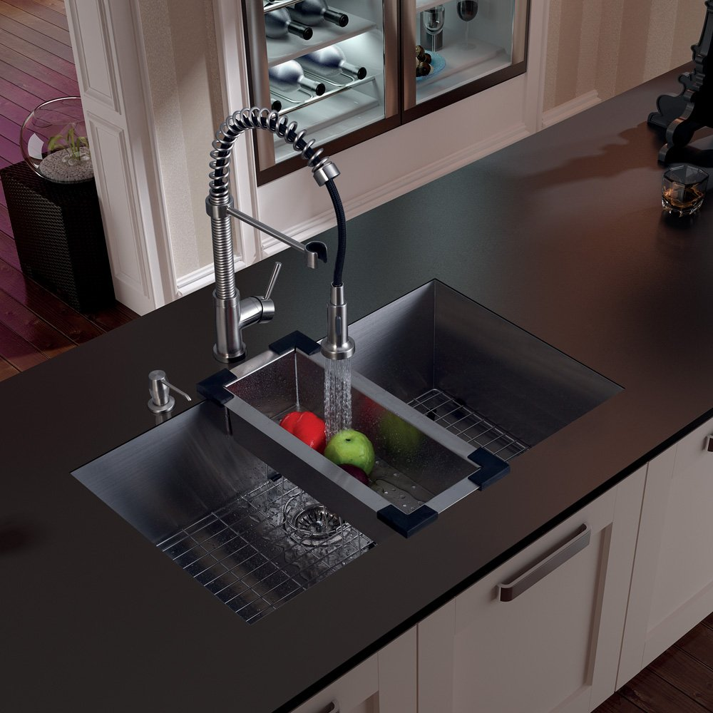 VIGO 32 Inch Undermount Single Bowl 16 Gauge Stainless Steel Kitchen Sink  With Edison Chrome Faucet, Grid, Strainer, Colander And Soap Dispenser    Single ...
