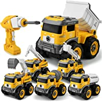 Gizmovine 6 in 1 Construction Toys for 4 Year Old Boys Take Apart Toys with Electric Drill Converts to Remote Control…