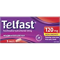 Telfast Hayfever Allergy Relief 120mg, Non-drowsy, For sneezing, runny nose, itchy eyes and itchy throat, 5 Tablets