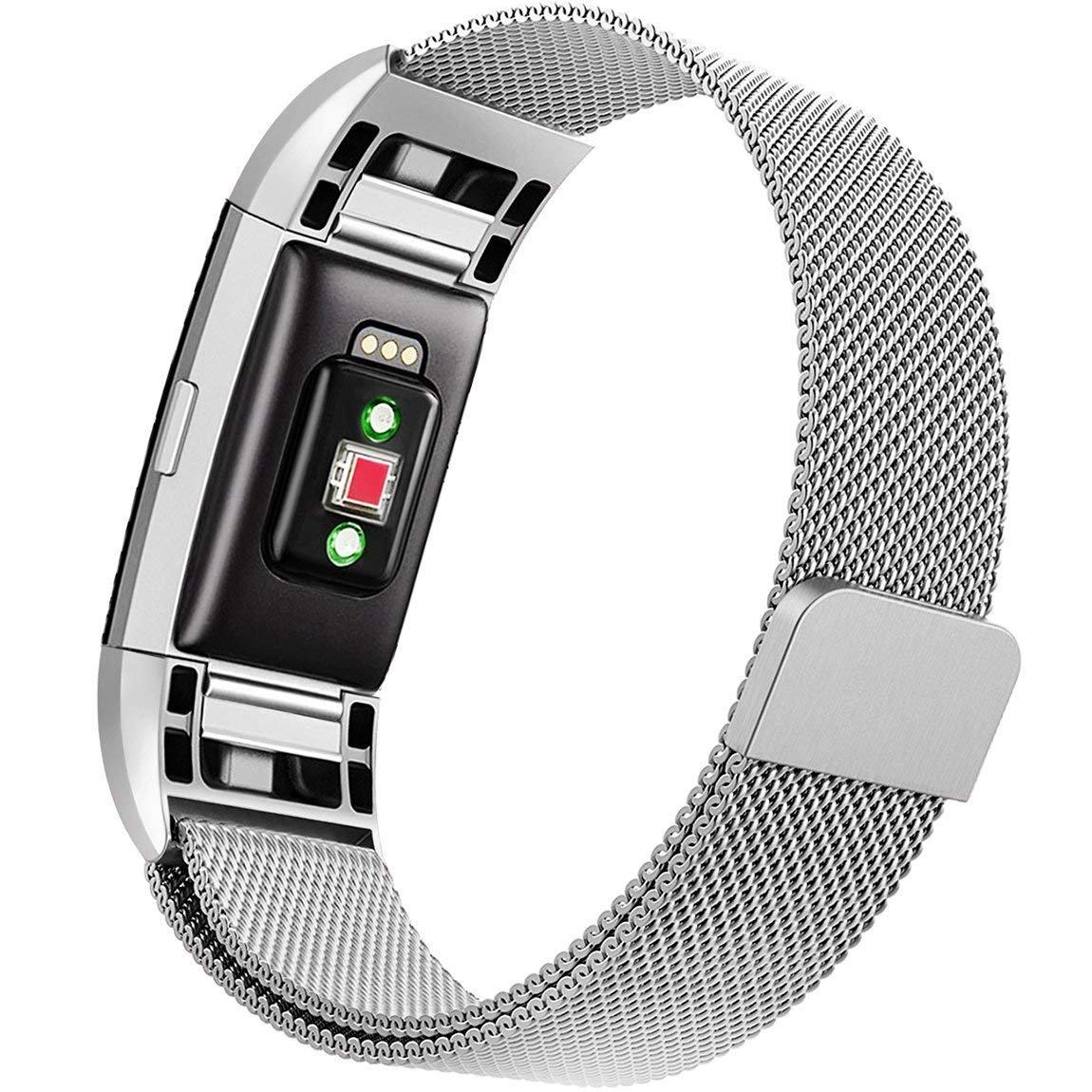 RLTech バンド Fitbit Charge 3 ミラネーゼループ ステンレススチール メタルアクセサリー ブレスレット 独自のマグネットロック スポーツリストバンド Fitbit Charge 3用 Small シルバー B07HHZDQ9Y