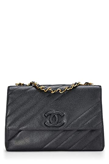 f99dae4d491906 Image Unavailable. Image not available for. Color: CHANEL Black Diagonal  Quilted Caviar Classic Flap ...