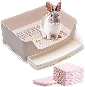 CalPalmy Large Rabbit Litter Box with 10 Bonus Pads, Drawer, Corner Toilet Box and Bigger Pet Pan for Adult Guinea Pigs, Chinchilla, Ferret, Galesaur, Small Animals