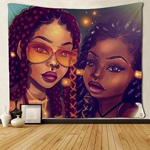 SARA NELL Tapestry Afro Black Mom and Daughter African American Women Tapestries Hippie Art Wall Hanging Throw Tablecloth 60X90 Inches for Bedroom Living Room Dorm Room