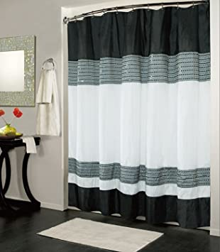 Kashi Home Ibiza Shower Curtain 70x72, Black White