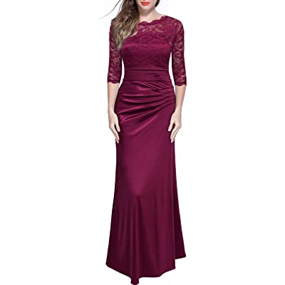 Miusol Women's Retro Floral Lace Vintage 2/3 Sleeve Slim Ruched Wedding Maxi Dress at Women's Clothing store