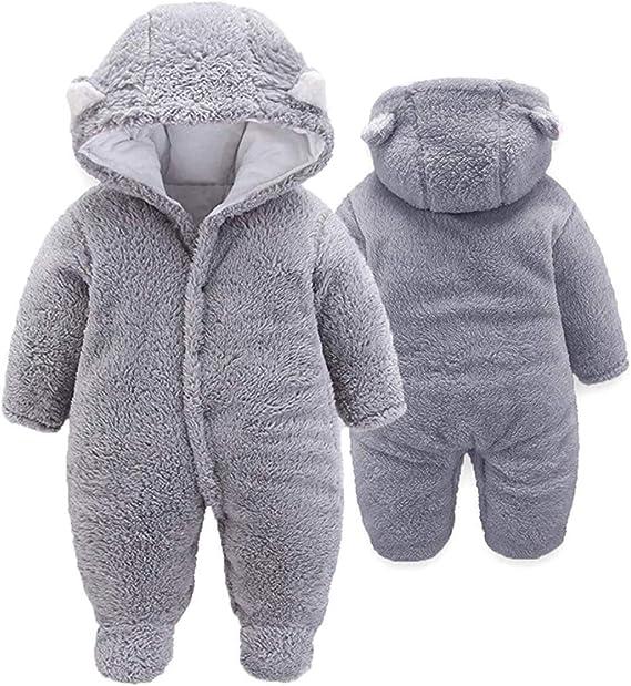 FIRENGOLI Baby Schneeanz/üge Winter Fleece Overall mit Kapuze M/ädchen Jungen Strampler Jumpsuit
