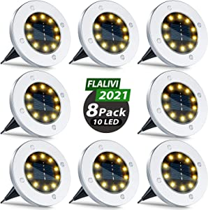 Flalivi Solar Ground Lights Outdoor - 10LED 8 Packs Solar Garden Lights Waterproof Solar Disk Lights , Bright in-Ground Lights for Landscape Deck Lawn Pathway Yard Driveway (Warm Light)