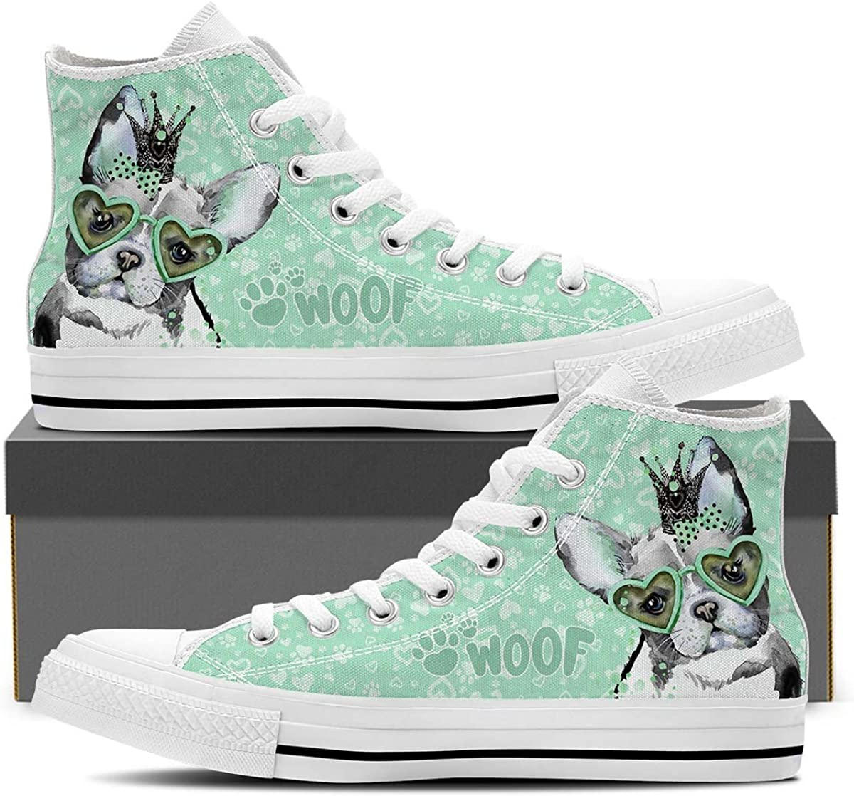 Womens High Top Sneakers in Black French Bulldog
