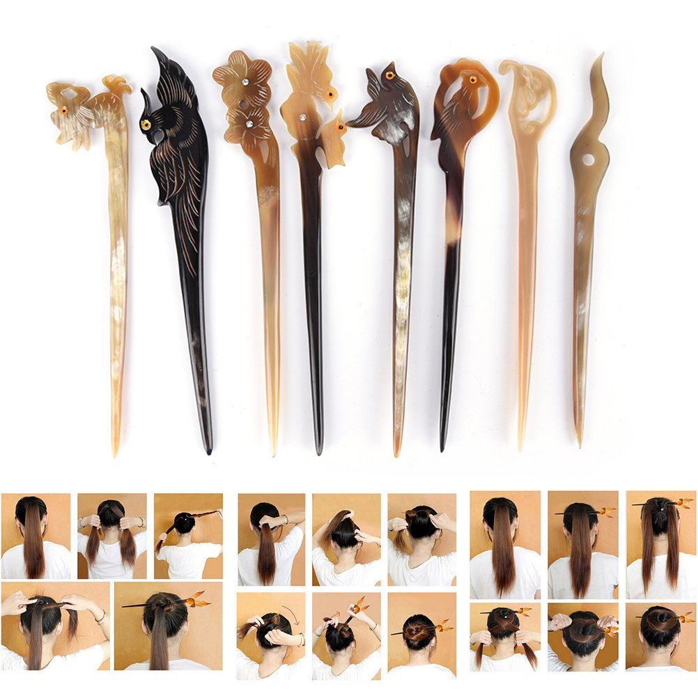 Ioffersuper 8 Pcs Different Pattern Classic Hand Polished Horn Original/Retro Stick Hair Pin For Women Lady,Pattern Random by Ioffersuper