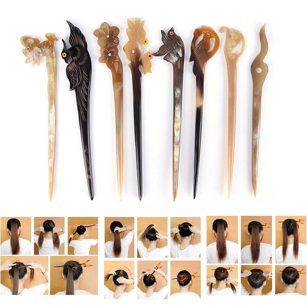 Ioffersuper 8 Pcs Different Pattern Classic Hand Polished Horn Original/Retro Stick Hair Pin For Women Lady,Pattern Random